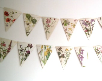 Summer Garland, Flower Bunting, Floral Bunting, Summer Wedding Decor, Upcycled Bunting, Rustic Bunting, Wedding Bunting, Wedding Garland
