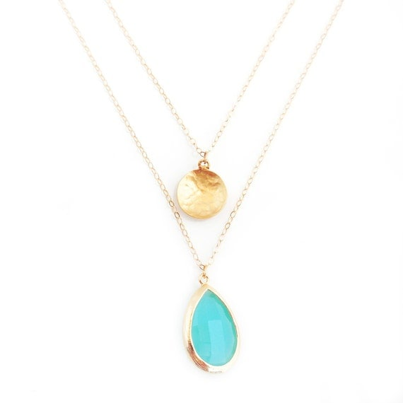 Delicate Gold Layer Necklace, Hammered Gold Coin, Framed Turquoise Teardrop, Landon Lacey, Delicate Necklace, Bridesmaid Gifts, Dainty