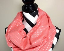 Coral Scarf, Coral Silver Infinity Scarf, Polka Dot Infinity Scarf