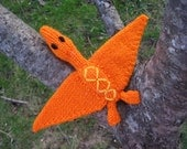 Orange Pterosaur with Yellow Diamonds, Hand Knit, Flying Reptile, Children's Stuffed Toy, Nursery Decor