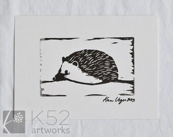 Hedgehog linocut 5 x 7