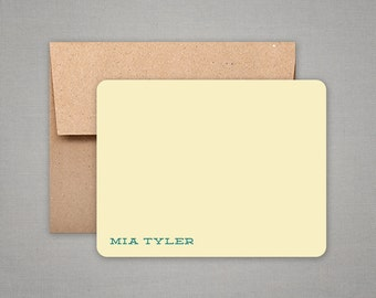 Personalized Stationery with Kraft Envelopes - Flat Notes - Gift Set - Personalized Stationary