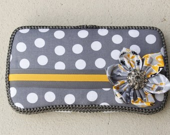 Grey with White Polka Dot and Yellow Flower Boutique Wipe Case