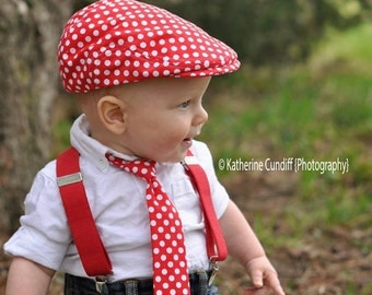 Photo prop newsboyhat and necktie set - Red polka dot  -  made to order
