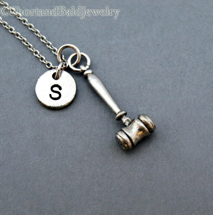 gavel necklace gavel charm silver gavel necklace