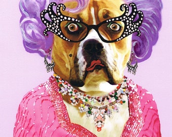 Animal painting portrait painting Giclee Print Acrylic Painting Illustration Print wall art wall decor Wall Hanging: Dame Edna Bulldog