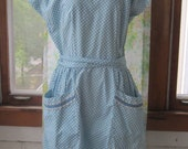 1950s Vintage Swirl  Wrap Dress, Blue and White Houndstooth with Ruffles, Size S-M