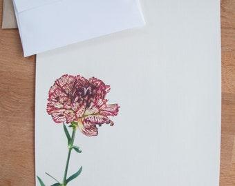 Carnation Letter Writing Set, Gift for Her