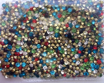 50pcs 3.2mm - 13SS - PP25 Mixed Color Glass Crystal Rhinestone Chatons Cone Back