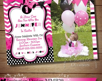 HUGE SELECTION Chevron Minnie Mouse Invitation, Pink Black Minnie Birthday Mouse Invitations, Digital Invitation, DIY Minnie Mouse Party