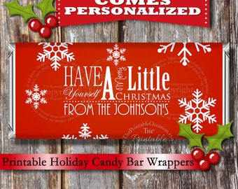 PERSONALIZED Red Christmas Candy Bar Wrapper, Printable Christmas Candy Bar Wrapper, Snowflake Red Holiday Card Idea by Printable Occasion