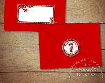 Minnie Mouse Address Labels and Envelope Seal - Red Minnie Envelope Lables