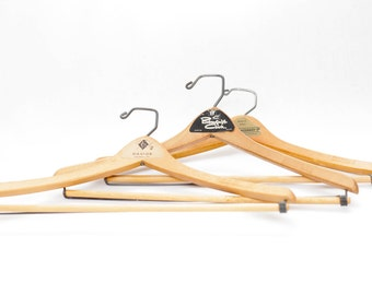 Vintage 60s Mid Century Wooden Clothing Hangers from California & Pennsylvania / Set of 3