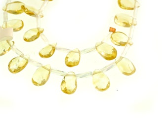 Citrine Briolettes, Small Gemstone Briolette, Yellow Citrine Beads, Faceted Teardrop  - (1) 10 Inch Strand (Approx. 28 pieces)