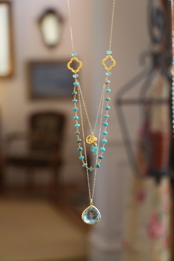 long multi layer necklace wire wrapped turquoise w blue topaz. Black Bedroom Furniture Sets. Home Design Ideas