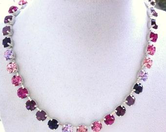 Swarovski Crystal Choker, Necklace, Bracelet, Pink and Purple, Ombre Jewelry, 8mm Swarovski Jewelry Set, Siggy Jewelry, FREE SHIPPING