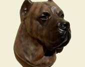 Hand painted Dogo Canario dog Perro de Presa Canario PERITAS wall sculpture statue fine art relief