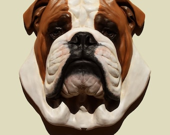 Hand painted English Bulldog dog Bulldog anglais PERITAS wall sculpture statue fine art relief painting