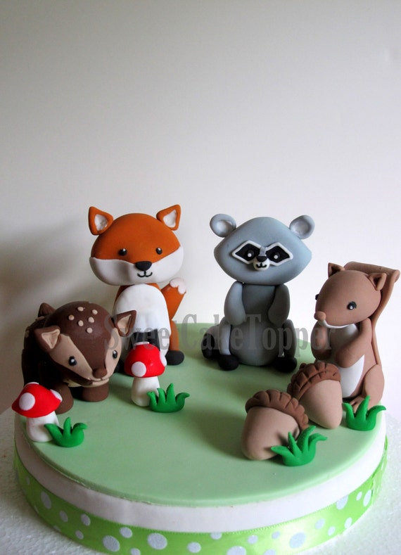 READY MADE Woodland Animal Cake Toppers Fox Raccoon