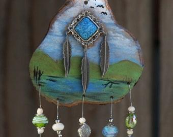 Wind-Chime Suncatcher Hand painted Landscape on Osage Orange Hardwood Green and Blue glass faceted beaded polished aluminum chimes
