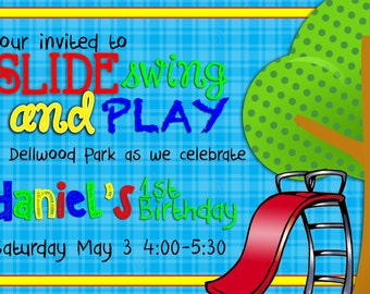 Slide, Swing, & Play Outdoor Birthday Party Invitation- Digital File Only