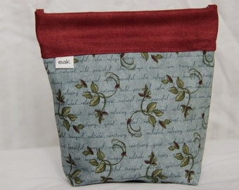 Small Bag - Blue and Red Floral - Handmade