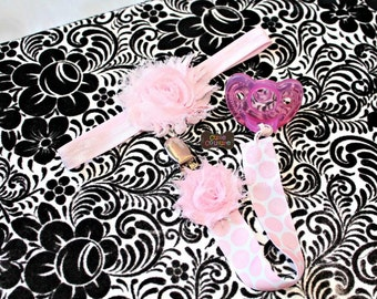 Boutique Style-Pacifier Clip-Baby Girl Pacifier Clip-Universal Pacifier Clip-Paci Clip-Chic-Pink Polka Dot-Shabby Headband