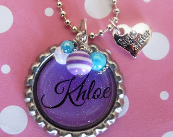 BIG SISTER Gift New SISTER Necklace Personalized Girls Necklace Purple Birthday New Sister Gift Baby Sister