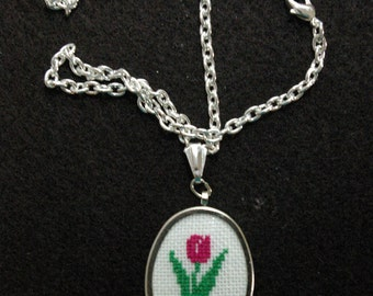 Pink Tulip Silvertone Cross Stitch Pendant, Embroidered Oval Tulip Necklace