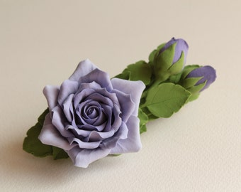 Hair barrette polymer clay flower. rose with buds on a barrette.