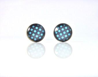 18mm Blue Dot Stud Earrings, Blue Dot Earrings, Blue Polka Dot Studs, Blue Dot Post Earrings, Blue Dot Earring Studs, Blue Polka Dot Jewelry
