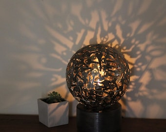 Large 25 cm diameter key light with base, Key sphere, Metal sculpture ornament