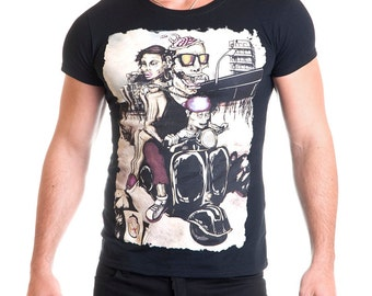 Still Alive black cotton male t-shirt zombie print half sleeve - Made in Italy