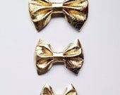 Metallic Gold Leather Bow on Elastic or Clip - Large, Small, or Tiny Bow Size - NEW STYLE