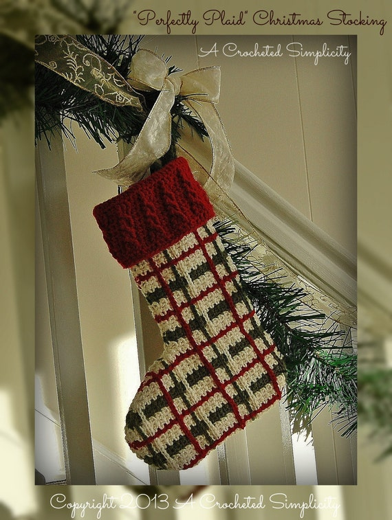 "Crochet Pattern: ""Perfectly Plaid"" Christmas Stocking, Permission to Sell Finished Items"