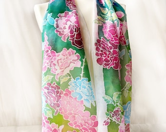 Silk scarf ROSE - hand painted scarf - blue scarf - Habotai - roses scarves - rose scarf - foulard soie - kimono scarf - butterfies scarf