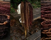 Beautiful set of 55 Synthetic Dreads, Special Autumn, Natural looking with gradient of colors and lengths.