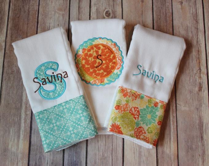 Personalized Monogrammed Baby Girl Burp Cloth Set - 3 Burp Cloth Set for New Baby Girl or Baby Shower Girl! Custom Applique Burp Cloth Set!