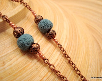 Copper Eyeglass Chain, Copper Eyeglass Necklace, Turquoise, Copper Lanyard, Beaded Glasses Chain, Glasses Loop, Glasses Strap, Canada