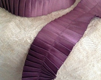violet purple satin pleated ribbon