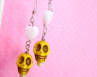 Halloween Skull Earrings with White Hearts, Cute Pastel Punk Goth Soft Grunge Creepy Cute, Handmade Jewelry Gifts on Etsy, Gifts for Her