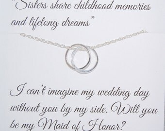 Maid of Honor SISTER, connecting Rings necklace, sister jewelry, Sister card, Meaningful jewelry, wedding jewelry