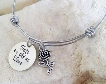 Sale - Beauty and the Beast (1) - Tale as old as Time - Disney Bangle - Disney Bracelet - Disney Jewelry - Disney Wedding - Bridesmaid