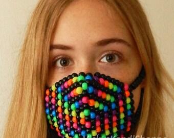 Rainbow and Black Swirl Kandi Mask