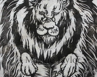 Literary Lion, original hand-pulled linocut relief print on Japanese Kinwashi paper