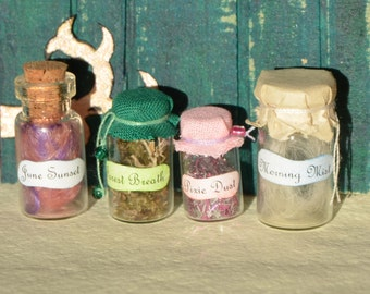 Fairy magic, magical ingredients dollhouse miniature, set of 4 potion bottles in one inch scale, witch, fantasy