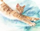 Harvey: Original Kitty Watercolor Painting, 5x7