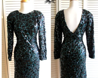 Vintage 1980's LBD Sequined Long Sleeve Bodycon Cocktail Dress With Plunging Back Size Small/ Medium