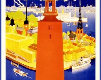 Sweden Stockholm Travel Poster Print