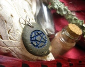 Handcrafted Carved Stone Ocean Pentacle Pendant - For the Wiccan in You